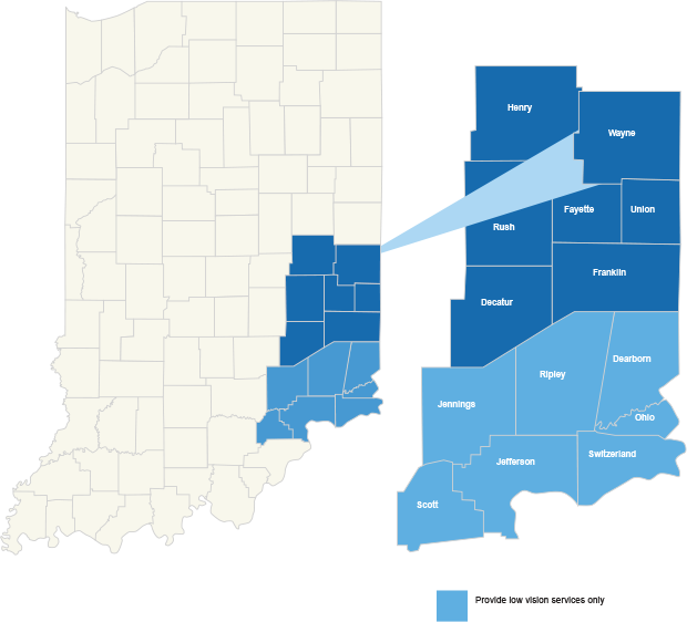 An image that shows ILC's serving area. It features Henry, Wayne, Rush, Fayette, Union, Decatur, Franklin, Jennings, Ripley, Dearborn, Ohio, Scott, Jefferson, and Switzerland county.
