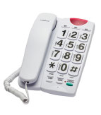 A cord phone with large buttons.