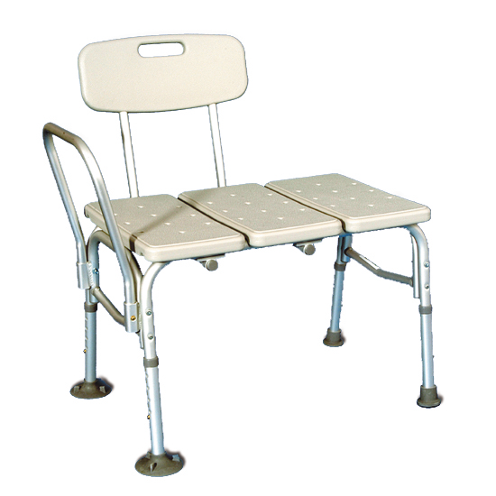 Bath transfer bench with a side grip, back rest and four metal legs.
