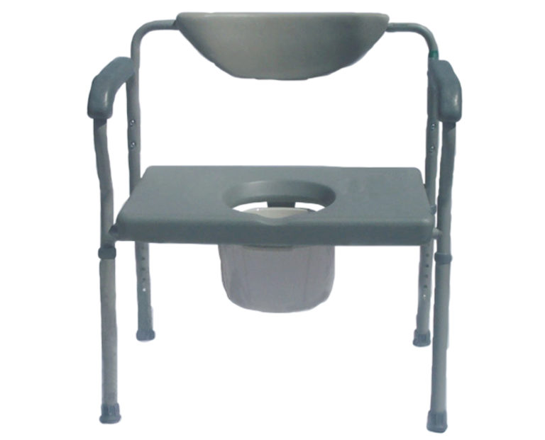 A bedside commode that is plastic with four metal legs.