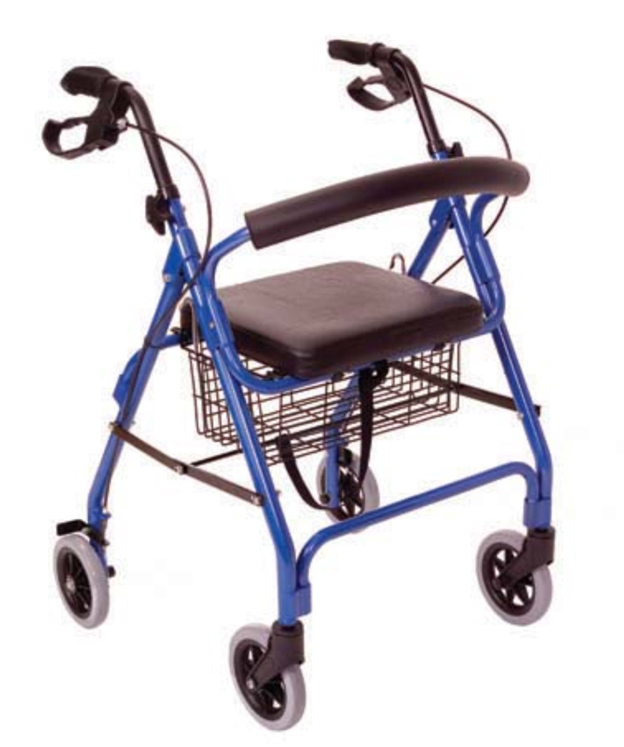 A walker with two handles and four wheels. It also has a basket.