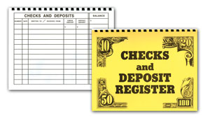 A check register with large text.