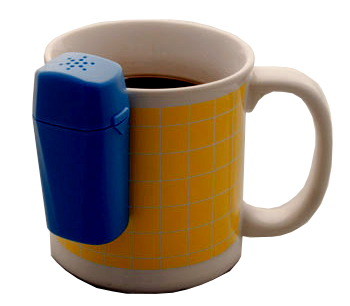 A liquid level indicator that hands off the side of a mug
