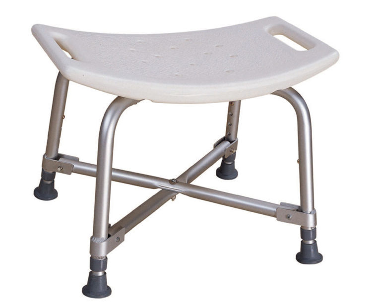 A plastic shower bench with four metal legs. The seat has handles so you can easily pick it up.